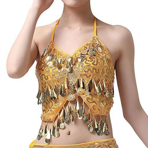 Gyratedream Bauchtanz Kostüm Damen Neckholder BH Oberteil mit Münzen + Bauchtanz Hüfttuch Rock (Münze Für Kostüm)
