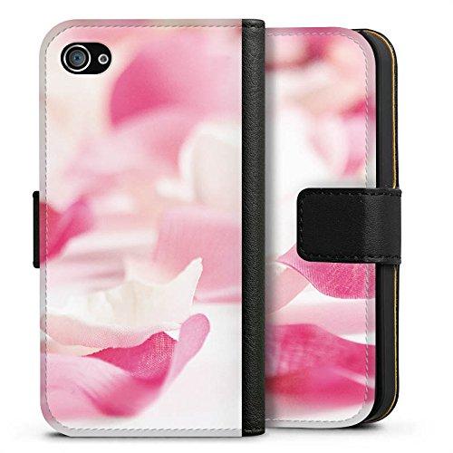 Apple iPhone X Silikon Hülle Case Schutzhülle Blütenblätter Blume Orchideenblätter Sideflip Tasche schwarz