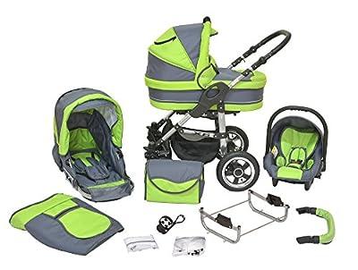 Kombi Kinderwagen X6 - 3 in 1 - Kombikinderwagen Buggy graphit-saftiges grün