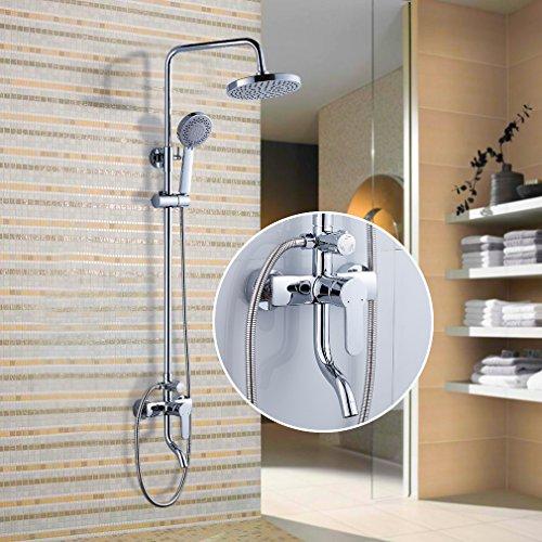 Auralum® Elegant Design Chrom Duschsystem Wasserfall Regenbrause Kopfbrause Duschset Dusche Duschstange Handbrause