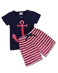 Boys Anchor Print Tee & Long Shorts Set Navy