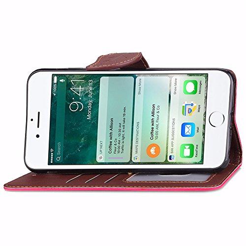 UKDANDANWEI Apple iPhone 7 Plus étui,Les feuilles de texture Pu Leather Case avec Dragonne Corde Flip Wallet Protective Case Cover avec Fonction Stand et Fentes de Carte de Crédit Flexible Souple Tpu  Rose vif