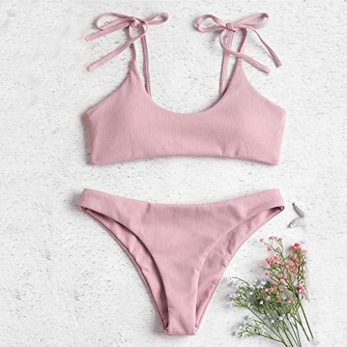 Muyise Damen Sommer einfarbig frische Zweiteilige sexy Split Badeanzug Tube Top Strap Bow Bikini Beachwear Bademode(Pink,S) -