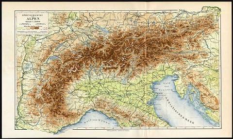 ThePrintsCollector carte Antique-Alps Altitude-Meyers - 1895–Suisse