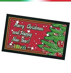 Idea Regalo - Zerbino gomma antiscivolo NATALE MERRY CHRISTMAS 40x70cm retro antiscivolo 100% MADE IN ITALY mod.ALBERO
