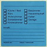20 x Beschriftungsetiketten für Umzugskartons Farbe: Blau