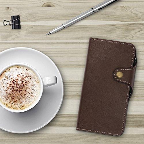 Étui iPhone 7 Plus, Urcover Deluxe Wallet Housse [avec Fente pour Cartes + Poche] Coque Apple iPhone 7 Plus Case Marron Smartphone Téléphone Marron