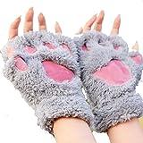 Bluelans® Niedlich Pfote Plüsch Fingerlose Handschuhe Damenhandschuhe Winterhandschuhe (Grau)
