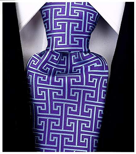 on Herren Krawatte/Krawatte mit geometrischen Schlüsseln, gewebt - Violett - ()