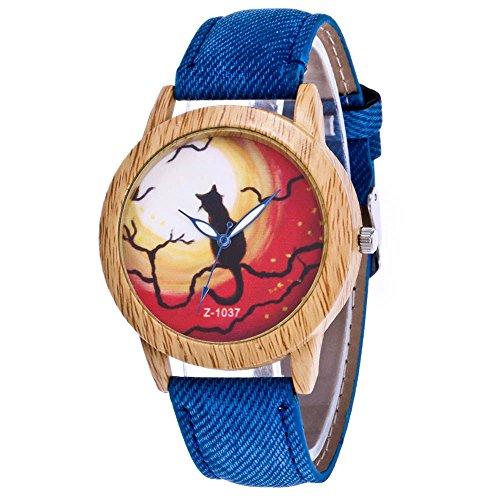 Souarts Damen Armbanduhr Halloween Stil Analoge Quary Uhr mit Batterie Holz Maserung Katze Muster Blau