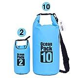 Kottle (2 Pack) 10L/2 L leicht wasserdichte Taschen mit Durable Verstellbarer Schultergurt, Plus GRATIS Wasserdichte Handy-Schutzhülle, wasserabweisend 500D Tarpaulin, blau