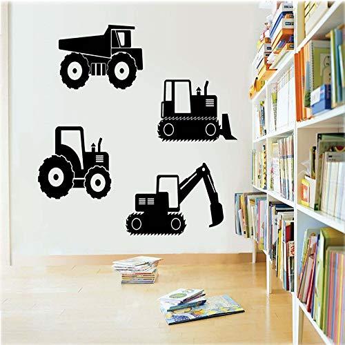 zhuziji Baugeräte Happy Crane Truck Cartoon Aufkleber Baufahrzeuge LKW Vinyl Wandaufkleber Deca85.5x45cm