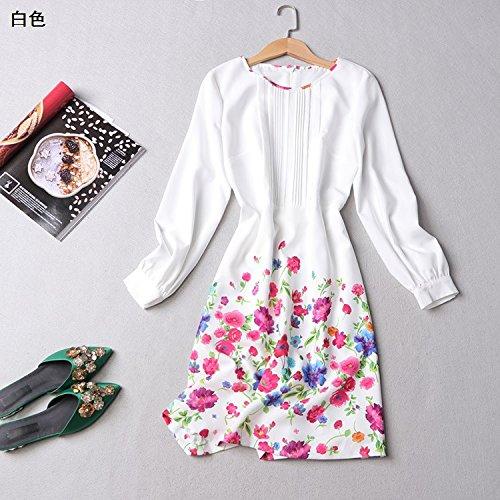 perament Stempel Sleeved Kleider Werkseitig Zu Niedrig Preis Weiblich [Xl] [Weiß] ()