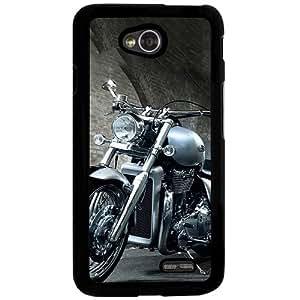 Casotec Motorcycle Design 2D Hard Back Case Cover for LG L70 - Black