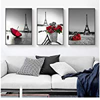 Nordic Red Flower Rose Umbrella Canvas Painting Tower Wall Art Posters and Prints Wall Picture for Living Room Home Decor 50 * 70cm
