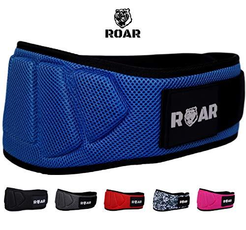 Roar® Profi Gewichthebergürtel - Fitness-Gürtel für Bodybuilding, Krafttraining, Gewichtheben und Crossfit Training, Powerlifting - Trainingsgürtel für Damen und Herren. (blau, XS)