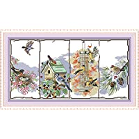 CaptainCrafts Hot New Releases Cross Stitch Kits Patterns Embroidery Kit - The Birds of The Four Seasons (Stamped)