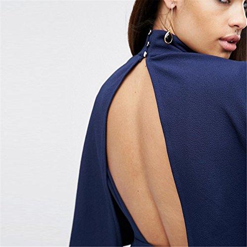 Moda Cloak Poncho a mantella Stile Collo Alto Choker Mezza manica con scollo profondo Mini Corte Corta Skater A-Line Linea Ad A Svasato Dress Vestito Abito Blu
