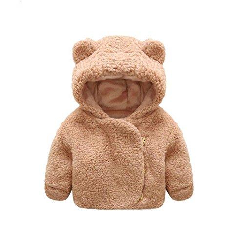 ädchen Wintermantel Winterjacke Baby Woolmantel Unisex Baby Warme Bär Wooljacke Sweatjacke Fleecejacke Outdoorjacket Outerwear (0-24Monate) (70CM 6Monate, Khaki) (Land Mädchen Jacken)