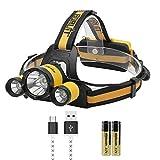 Boruit RJ-3000 Plus 3x XM-L T6 LED Phare Micro USB, 4 Modes Phare avec Lumière...