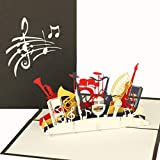 '3d pop up tarjeta 'Orquesta–Instrumentos Musicales–Tarjeta de cumpleaños Música, regalo GG02Instrumento, tarjeta 3d de cologne Cards | de Pop Up Tarjetas