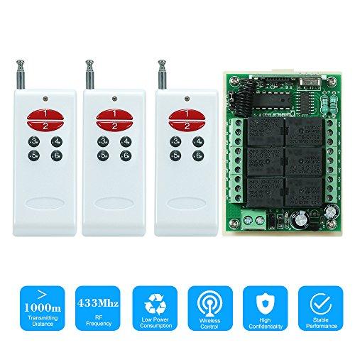 OWSOO 433 MHz DC 12 V 6CH Kanal Universal 10A Relais Wireless RF Fernbedienung Empfängermodul und 3 STÜCKE 6 Schlüssel RF 433 MHz Sender Fixed Code (2262 Chip) Fernbedienungen Dc Universal-wand