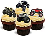 Monster Truck Mix Jungen Spielzeug Rennen - Witzige Neuheit Geburtstag PREMIUM AUFRECHTSTÄNDER Essbare Waffeln Karte Kuchen Topper Deko