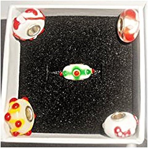 Amazing mix of 5 Christmas, Silver core Glass Charm Bead for Pandora/Troll/Chamilia Style Charm Bracelet