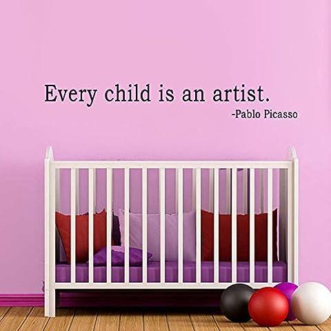 Picasso wallkraft - cada niño es un artista - etiqueta de la pared niños etiqueta ilustraciones de pantalla (negro, talla