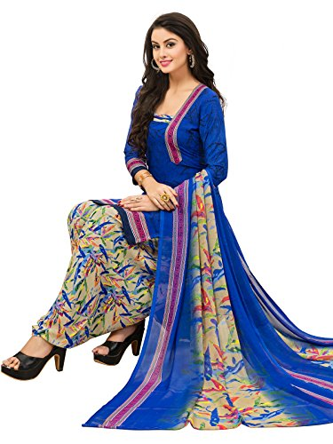 FabFactory Blue & Cream Printed Synthetic Unstitched Semi-Patiyala Salwar Suit Dress Material...