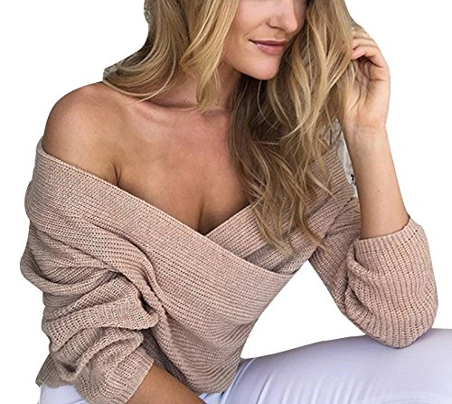 Vogue of Eden Women Loose Deep V-Neck Low Cut Knit Pullover Sweater Beige (Womens Pullover V-neck)