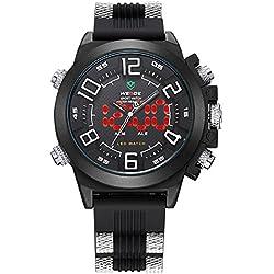 Alienwork DualTime LED Analogue-Digital Watch XXL Oversized Wristwatch Multi-function Polyurethane black black OS.WH-5202-02
