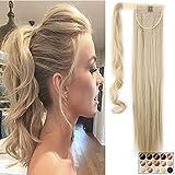 Clip in Extensions Pferdeschwanz Haarteil Blond Ombre Glatt Ponytail Extensions günstig Haarverlängerung 26