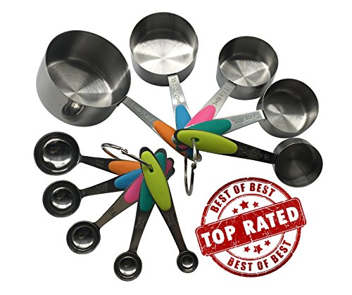 measuring-cups-and-spoons-set-from-gozbit-11-piece-stainless-steel-with-multi-colored-silicone-inser