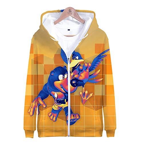 Denkqi Unisex 3D Druck Hoodie Kapuzenpullover Langarm Sweatshirt Kapuzenjacke Mit Tunnelzug Pullover Taschen Top Shirt Weihnachten Herbst Banjo Kazooie Nuts and Bolts Zipper XL -