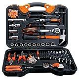 PiPisun Hauptreparatur-Werkzeugsätze Hauptreparatur-Werkze 56-teilige Auto-Reparatur-Kit Hardware-Kombination Werkzeug Steckschlüssel Schraubendreher Heimkit Toolbox.