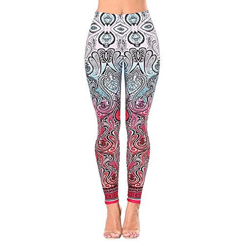 Wenyujh Femme Pantalon Stretch Skinny Imprimé Floral Legging Pantalon Crayon Collant Taille Haute Casual 1