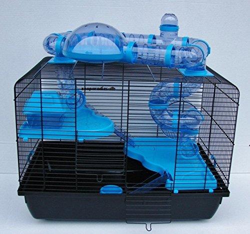 Nagerkäfig,Hamsterkäfig,Zwerghamsterkäfig,Mäüsekäfig,Käfig, Jerry II Tuba Teddy Galaxy 'Vollausstattung' blau