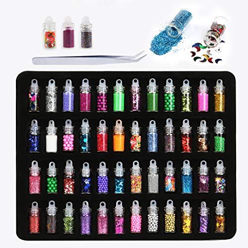 Phogary 48 Flaschen Nail Art Dekoration Zubehör Glitzerpulver Pailletten Perlen für DIY Nail Art, Auge Gesicht Körper Make-up