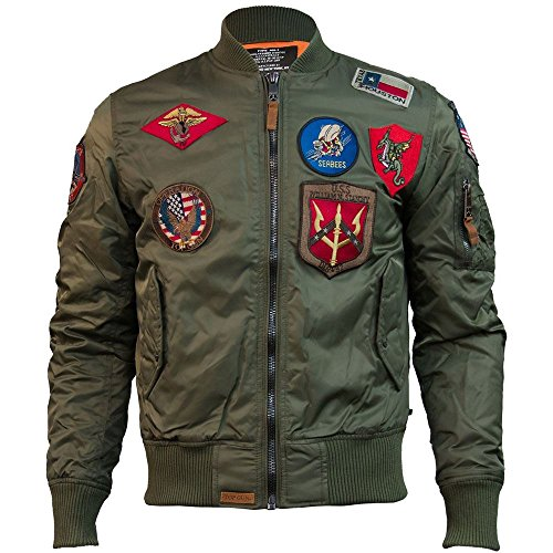 Top Gun MA 1 Nylon Bomber Jacket with Patches Olive (Gun Top Bomber Jacke)