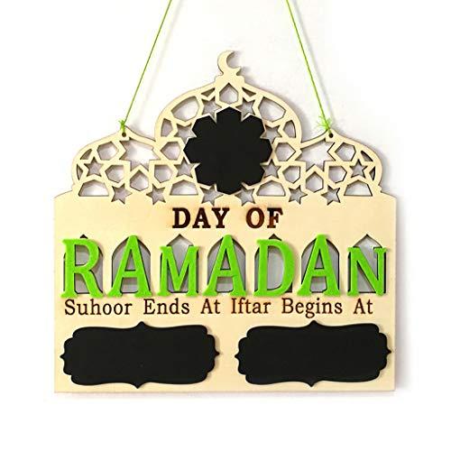 Ludzzi 1/Set Islam Ramadan Countdown zu EID Mubarak Advent Holz zum Aufhängen Nachricht Brett Home DIY Dekorationen Basteln Party Supplies um den Raum Besser zu dekorieren (Raum Supplies Party)