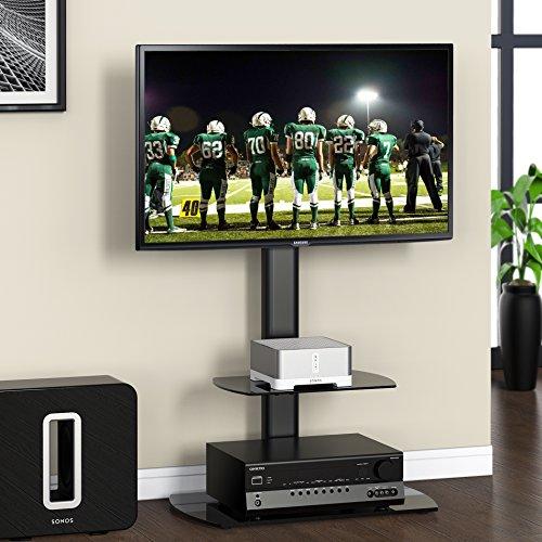 Fitueyes TV Bodenständer Fernseher Ständer Glas für 32 bis 50 Zoll LCD LED 35 Grad schwenkbar höhenverstellbar schwarz TT206501GB