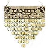 YuQi Familienkalender/Kalender aus Holz, zum Aufhängen, für Familie, Freunde, Geburtstagsgeschenke, DIY Erinnerung, Wandkalender, Tafel für Zuhause