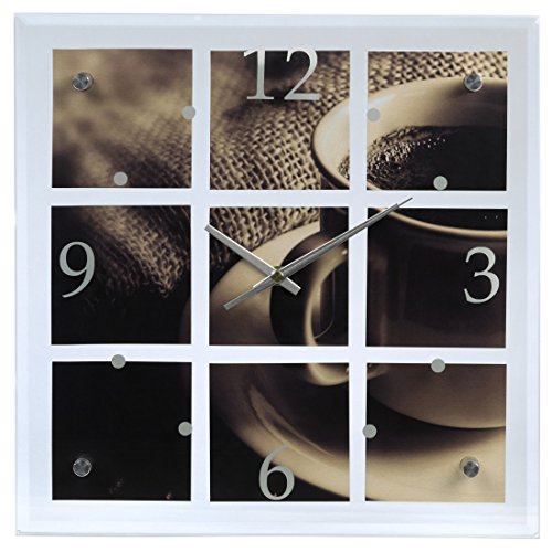 Hama Design-Wanduhr 'Kaffee', mit großem Ziffernblatt, Glas