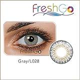 Farbige Jahres Kontaktlinsen, GRAU, weich, ohne Stärke als 2er Pack (2 Stück)- mit Aufbewahrungsbox, angenehm zu tragen, perfekt für helle und dunkle Augen, Party
