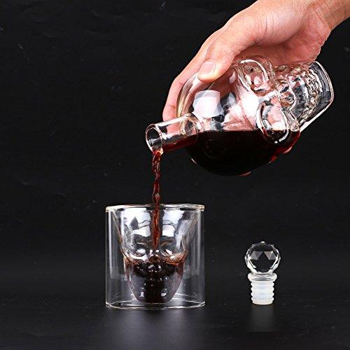 Amzdeal Skull Glas Flasche, Totenkopf Flasche 350ml mit 6 Schädel Gläser 75ml, Schädelflasche mit Whisky Vodka oder Schnapsgläser - 4
