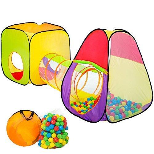 TecTake® Würfel Kinderspielzelt Spielhaus Kinderzelt mit Krabbeltunnel + 200 Bälle + Tasche
