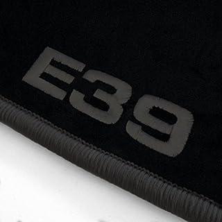 Autoteppich Stylers ATS-Q300_E39-501 Passform Velours-Fußmatten mit Bestickung E39 und Rand in Dunkelgrau