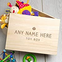 Personalised Wooden Toy Box for Baby/Children - 35x25x20cm