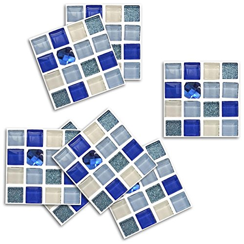 Crystal Glass Mosaic Wall Decor Stickers PVC Wall Cover Tile Decals Self-Adhesive Oil-Proof and Waterproof Marble Design for Kitchen Bathroom Floor Decoration Pack of 18, 10 * 10cm
